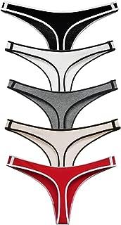 Women's Cotton Thong Underwear Sport Seamless Panties Hipster, Pack of 5