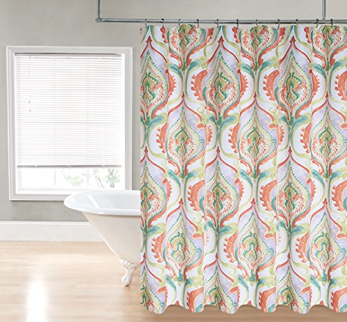 Regal Home Collections Devon Watercolor Damask Print 70-Inch Wide X72-Inch Long Fabric Shower Curtain_Tangerine