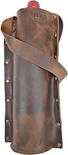 Rustic Leather Single Wine Carrier For Standard 750ml Bordeaux Bottle :: Espresso