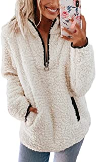 Tkria Womens Zipper Sherpa Pullover Fuzzy Fleece Sweatshirt Outwear Coat with Pockets Warm Winter