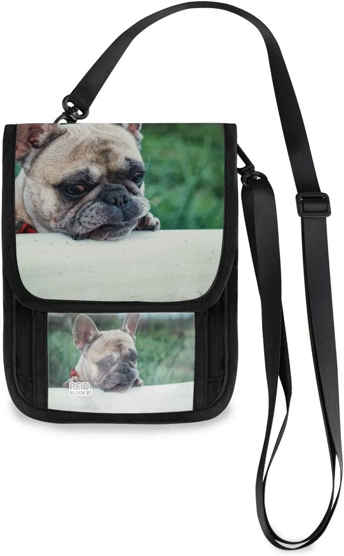 Travel Neck Wallet Dog French Bulldog Classic Passport Safety and trust Organized Holder