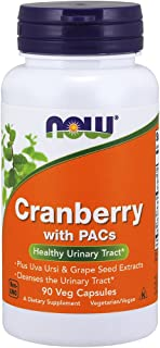 NOW Supplements, Cranberry with PACs, plus Uva Ursi and Grape Seed Extracts 90 Veg Capsules