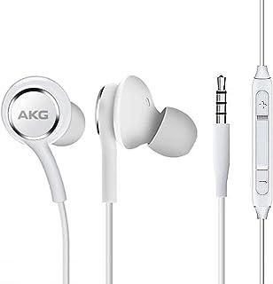 OEM UrbanX 2019 Auriculares estéreo para Samsung Galaxy S10 S10e Plus Cable trenzado – Diseñado por AKG – con micrófono y botones de volumen (blanco)