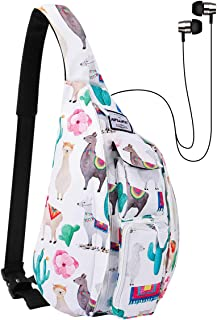 HAWEE Chest Sling Bag Outdoor Hiking Backpack Waterproof Crossbody Daypack for Women with Earphone Hole and Adjustable Strap