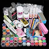 42 in 1 Nail Art Set Acrylic Powder Liquid BrushGlitter Clipper Primer File Nail Art Tools Kit Decoration Tools Professional Manicure Set