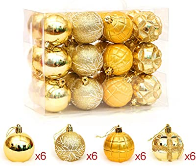 "Kinteshun Christmas Ball Baubles,2.4"" Shatterproof Assorted Painting Hang Balls Pendant for Xmas Tree Decoration(24pcs,Golden)"