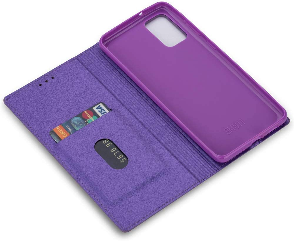 Samsung Galaxy A41 Case Glitter Solid Sparkly Wallet Flip Case for Women PU Leather Card Slots Stand Magnetic Folio Silicone Bumper Gel Shockproof Protective Phone Cover for Samsung Galaxy A41 Purple