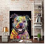 yangwuju Abstrakte Pitbull Hund Bild liegend Cartoon Hund Leinwand Wand Bild Print Home Wohnzimmer Dekor Geschenk-50x75cm with Frame