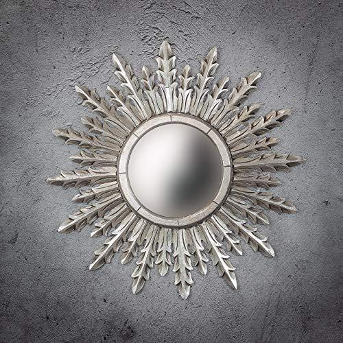 Rococo Espejo de Pared Decorativo Urban Surya de 80cm en Plata (Envejecida)