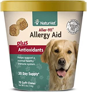 NaturVet – Aller-911 Allergy Aid Plus Antioxidants – 70 Soft Chews – Supports Immune System, Skin Moisture & Respiratory Health – Enhanced With Omegas, DHA & EPA – For Dogs & Cats