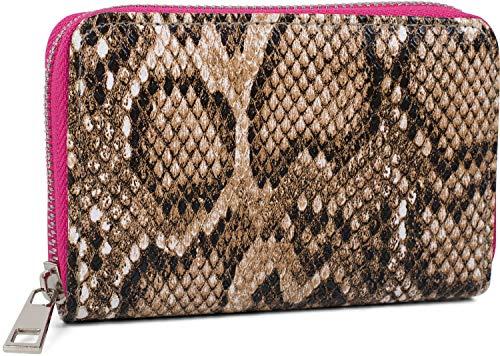 styleBREAKER Damen Mini Geldbörse mit Schlangen Muster, Reißverschluss, Portemonnaie 02040127, Farbe:Braun-Pink