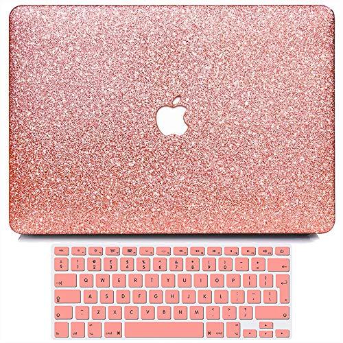BELK Funda Dura Compatible con MacBook Pro 13 Pulgadas 2012 2011 2010 2009 2008 con CD-ROM Drive Modelo A1278, Liso Glitter Bling Plástico Dura Carcasa con Cubierta de Teclado, Oro Rosa