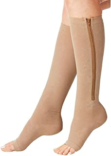 Zipper Compression Socks (2 Pairs) Knee High Open Toe Compression Stocking