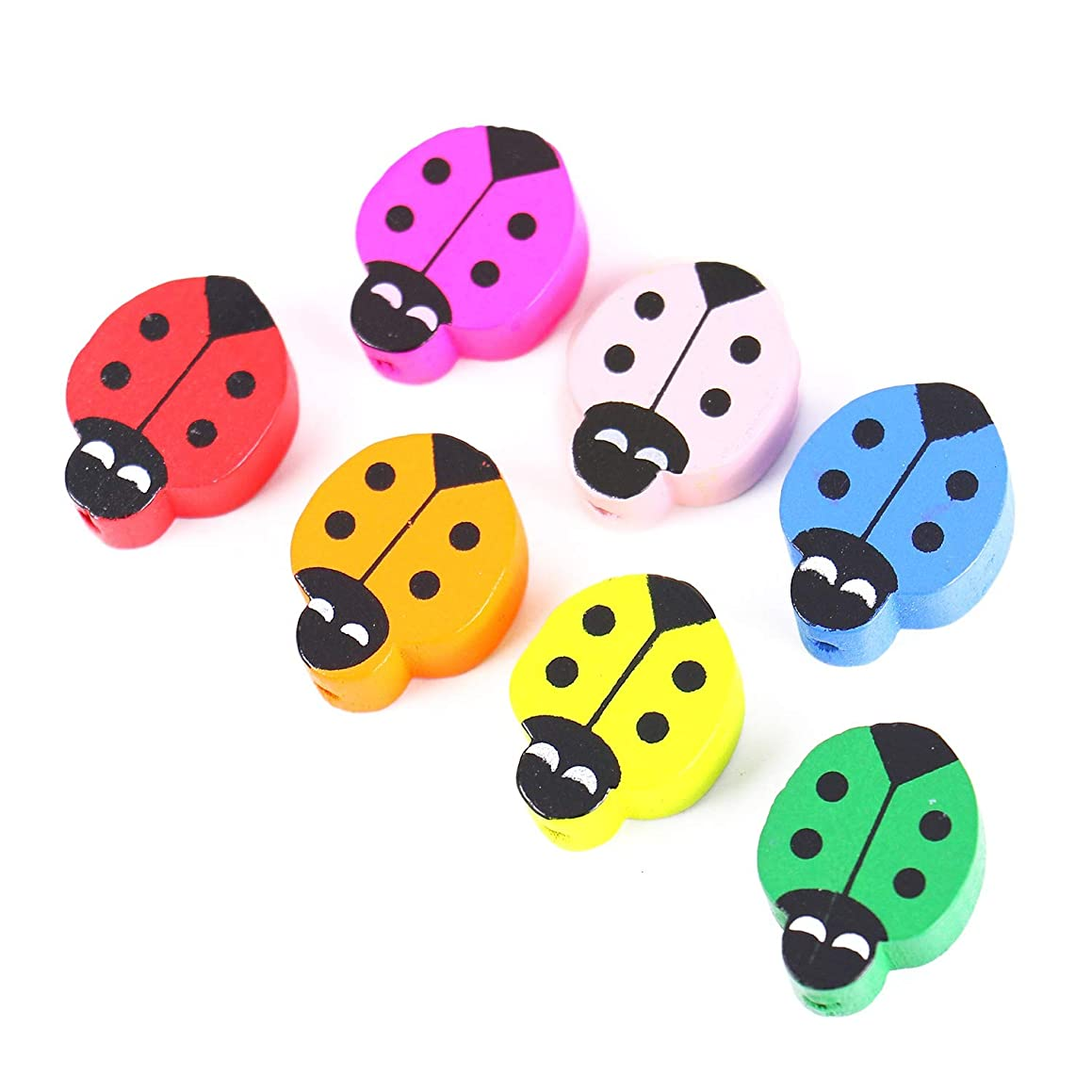 Monrocco 60PC Mix Color Wooden Ladybug Beads Cute Animal Beads Spacer Beads Loose Beads for DIY Jewelry Making