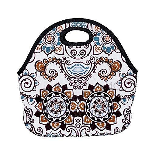 Bolsa de almuerzo de 11.8 x 11 x 6.3 pulgadas, diseño de artes visuales, estilo círculo, lonchera, lonchera, lonchera, lonchera, lonchera, bolsa de comida aislada de neopreno