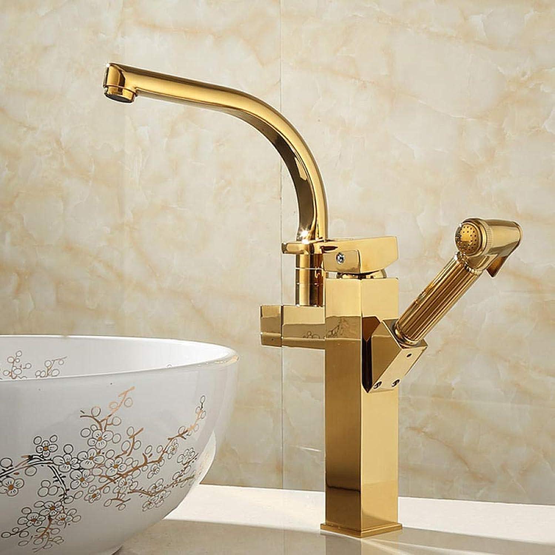 CZOOR American Kupfer Quadrat ziehen kaltes und warmes Wasser Becken Küchenarmatur mit Spritzpistole Waschbecken Wasserhahn A387