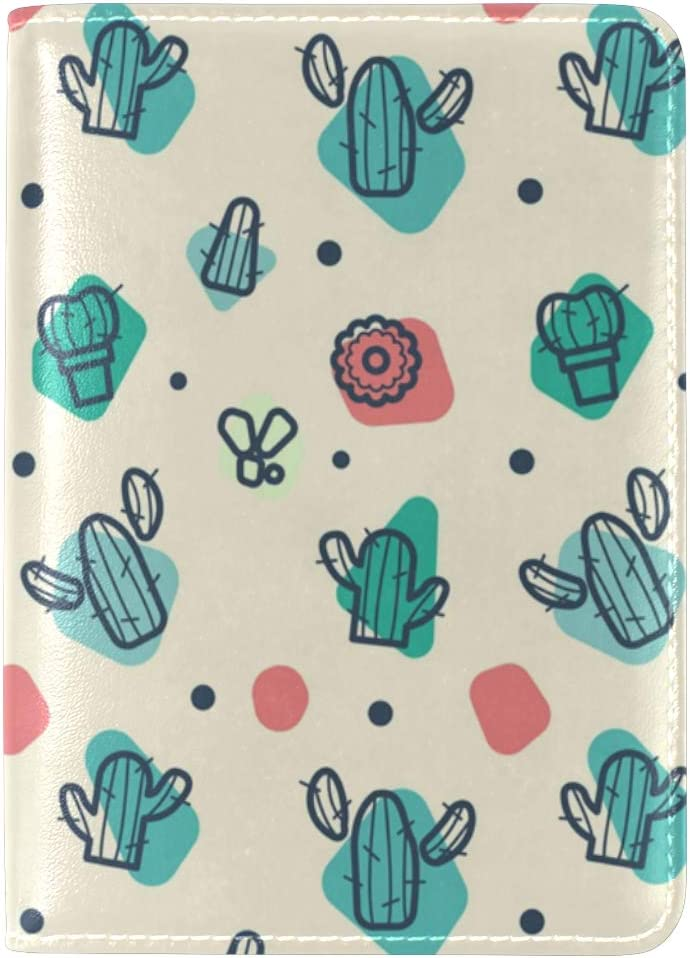 Watercolor free Cactus 5 ☆ very popular Passport Cover Leather Holder Waterpr