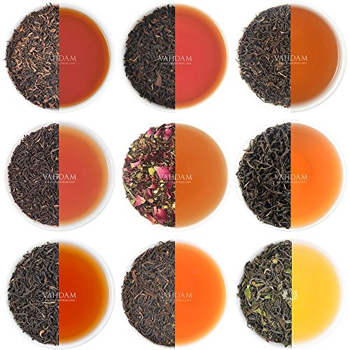 VAHDAM, Schwarzer Tee Sampler - 10 TEAS, 50 Portionen | 100{0876aab336d70c8a39a99d66c821ef5c7ed790138e6420d2e47981a1b09853e2} natürliche Inhaltsstoffe | Hoher Koffein, gesunder Kaffeeersatz Brew Hot, Iced, Kombucha-Teeset | Schwarzer Tee Loose Leaf | Tee Probierset