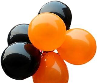 IyGnaw 100 Pcs 12''Black& Orange Lustrous Latex Balloons Party Decoration Wedding Balloons