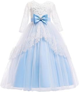 73b8db99f8b IBTOM CASTLE Floral Lace Flower Girl Dress 3 4 Sleeved First Communion  Wedding Junior Bridesmaid