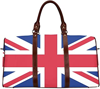 Large Leather Travel Duffel Bag For Men Women British Flag Pictures Uk Flag Pictures Union Jack Printing Waterproof Overnight Weekend Bag Luggage Tote Duffel Bags For Travel Gym Sports School Beach