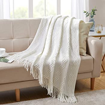 """Amazon.com: BOURINA Throw Blanket Textured Solid Soft For Sofa Couch Decorative Knitted Blanket, 50"""" X 60"""",Off White: Kitchen & Dining"""