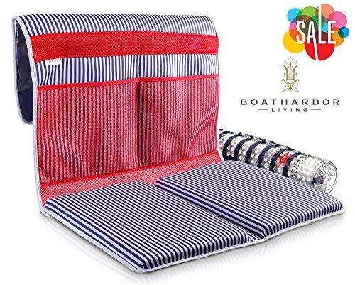 Premium XL Baby Bath Tub Kneeler + Non Slip Bath Mat   Machine Washable, Quick-Dry, Fully Adjustable, Suction Cups + Mesh Storage Pockets   XL Detachable Foam Kneeling Pad Cushion Mat with Zipper Bag
