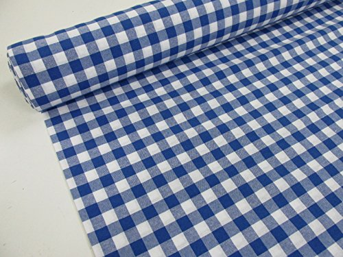 Confección Saymi Metraje 2,45 MTS Tejido Vichy Ref. Cuba Cuadro Medio 15x15 mm. Color Azul, con Ancho 2,80 MTS.