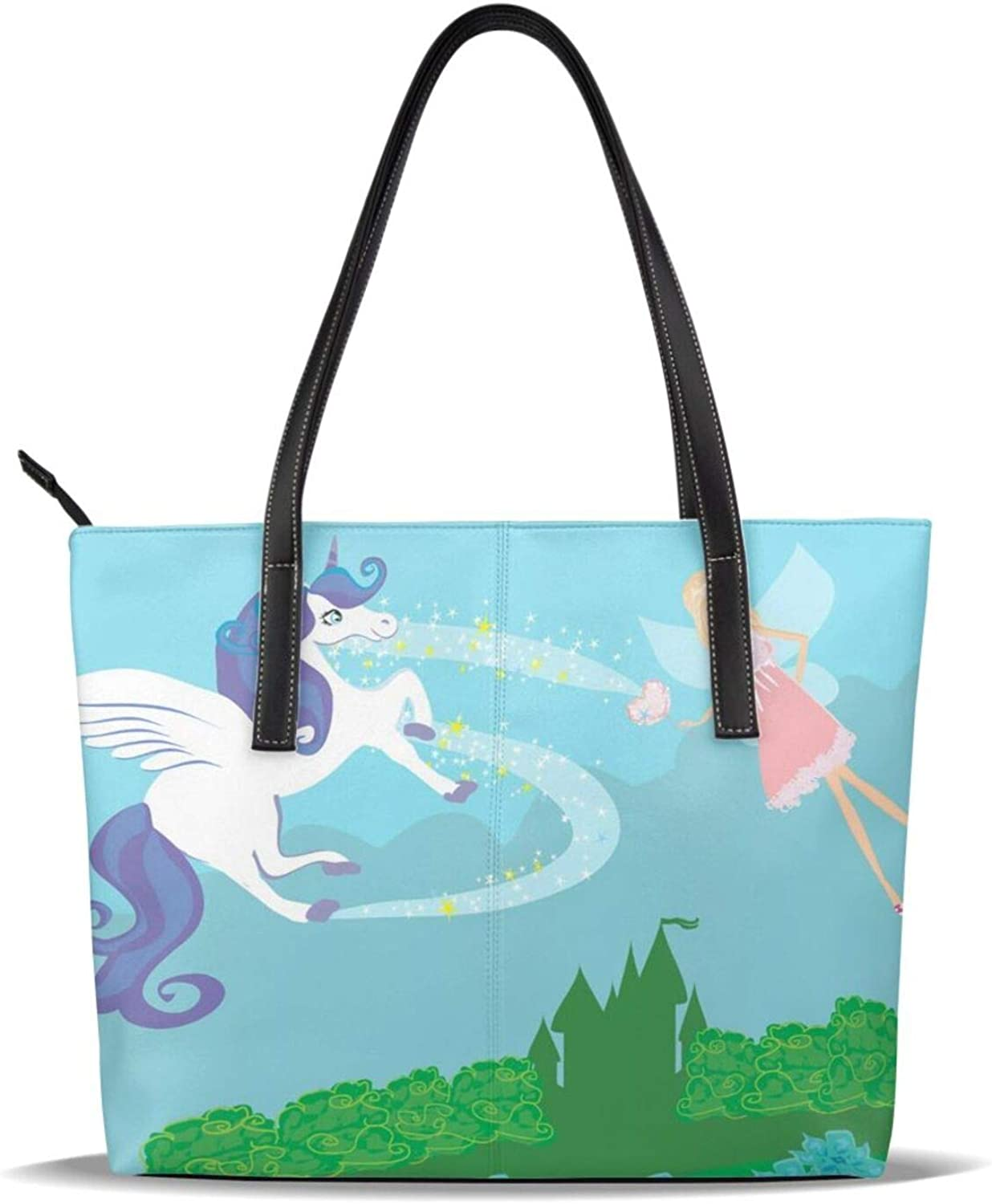 Green Unicorn Fairy Girl Pu Printed Super special price Handb Pattern 67% OFF of fixed price Leather Casual