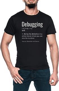 Debugging Definition Hombre Negro Camiseta Manga Corta Men's Black T-Shirt