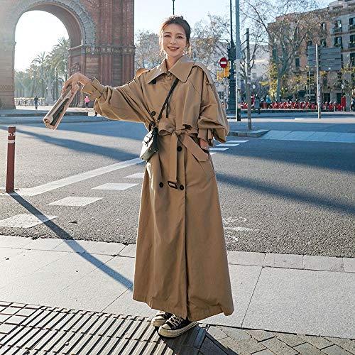 Płaszcz Luźne ponadgabarytowe damskie windbreaker do podwójnego piersi pasa damska płaszcza wiatrówka wiosna i kurtka jesienna szary Damskie płaszcze Wuyuana (Color : Khaki, Size : X-Large)