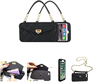 DHbox iPhone 7 Plus & 8 Plus & 6 Plus & 6s Plus Wallet Purse Case with Credit Card Holder for Women Girly Silicone Rubber with Chain Shoulder Strap Crossbody Bumper Defender