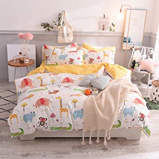 "Toys Studio Animal Zoo Kids Duvet Cover Set Twin (68""x90""), 3 Pieces (2 Pillowcase, 1 Duvet Cover) Cartoon Animal Cotton Bedding Sets with Zipper Closure Children Duvet Cover for Boys, Girls, Teens"