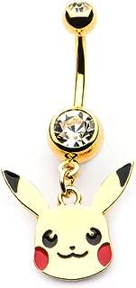 INOX Pokemon Pikachu Head Dangle Charm 14g 7/16 Gold PVD Plated Navel Ring