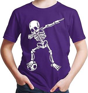 HARIZ Camiseta de manga corta para niño, diseño de esqueleto de Dab y fútbol, incluye tarjetas de regalo