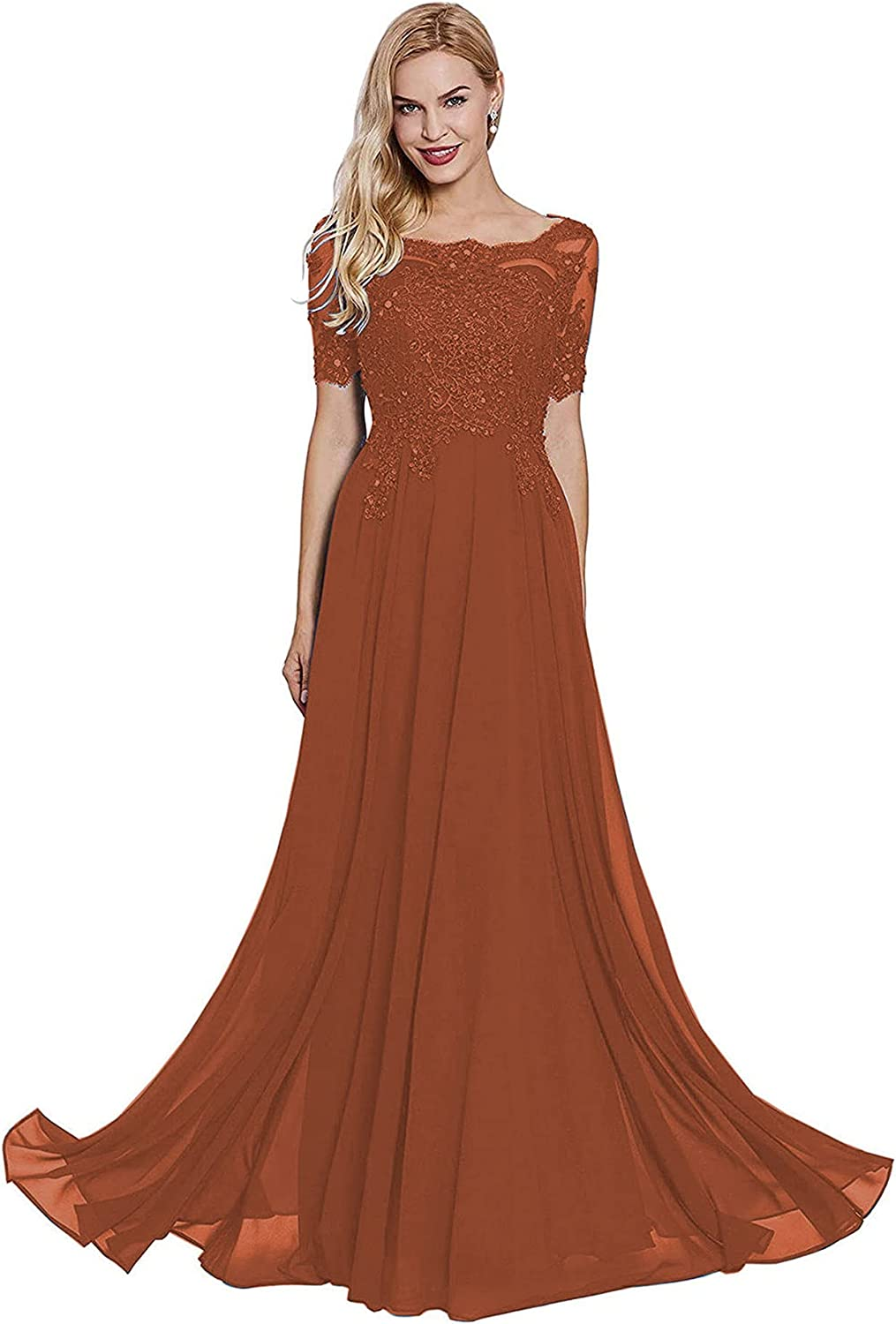 Women's Bateau Neck Lace Applique Mother of The Bride Dress with Sleeves Chiffon Formal Evening Gown