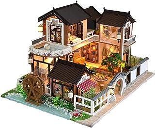 DIY Wooden Dolls House, Dollhouse Miniature with Furniture, Handcraft Miniature Kit, House Model Furniture Building Blocks...