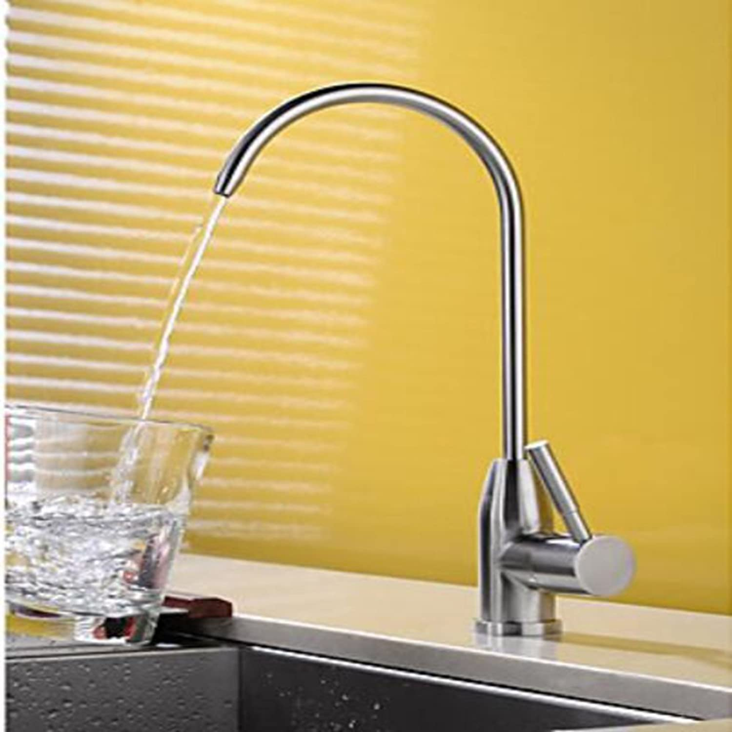 SISHUINIANHUA Kitchen Faucet - Contemporary Nickel Brushed Standard Spout Deck Mounted