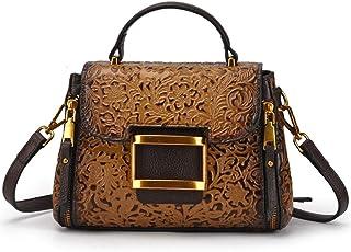 Bag - Top Layer Cowhide/Polyester, Retro Style Punk Ladies Handbag, Shoulder Bag/Crossbody Bag, Large Capacity/Soft/Wearable (23x9x16cm) Worth having (Color : Silver)