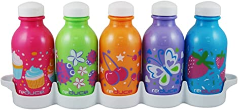 Reduce WaterWeek Classic Reusable Water Bottles, 10oz – Includes 5 Refillable Water Bottles Plus Fridge Tray For Your Wate...