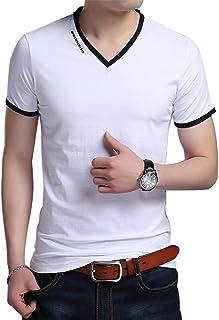 JNC Men's V Neck Casual Slim Fit Long/Short Sleeve Fashion Printed T-Shirts Cotton Shirts