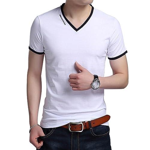 4777d9079ba JNC Men s V Neck Casual Slim Fit Long Short Sleeve Fashion Printed T-Shirts