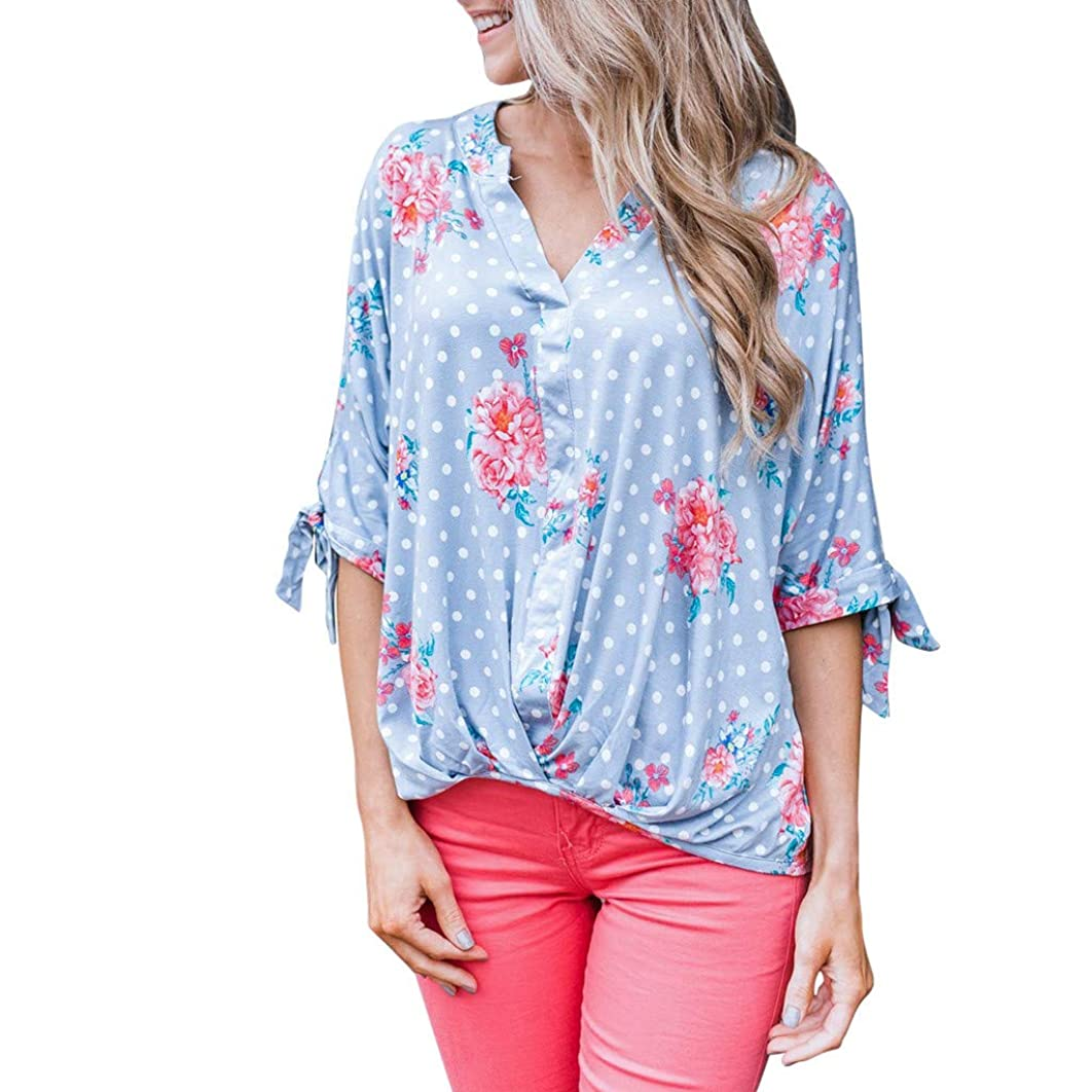 Women Summer Casual Floral Print Bobo T Shirt,Ladies V Neck Half Sleeve Holiday Blouse Top