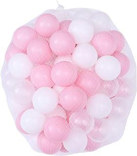 Toyvian 100 Piezas Pit Balls Soft Crush Proof Plastic Balls Ocean Balls con Bolsa de Malla para niños Baby 5.5 cm (Blanco y Rosa, Bolsa de Malla de Embalaje)