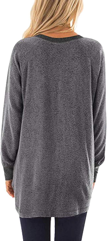 Aixy Women Pocket Shirts Casual Color Block Tops Long Sleeve Round Neck Loose Blouse Sweatshirts
