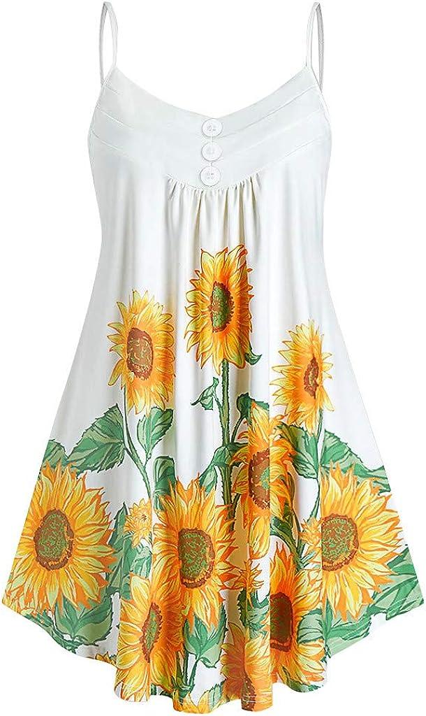 Oiumov Summer Dresses for Women Sexy Sleeveless Boho Sunflower Midi Dress Casual Beach Cover Up Party Cami Tank Dress