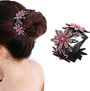 JONKY Vintage Hair Clips Large Hair Claws Flower Pink Bun Horsetail Clips Non Slip Pins Styling Tools Hair Accessories for...