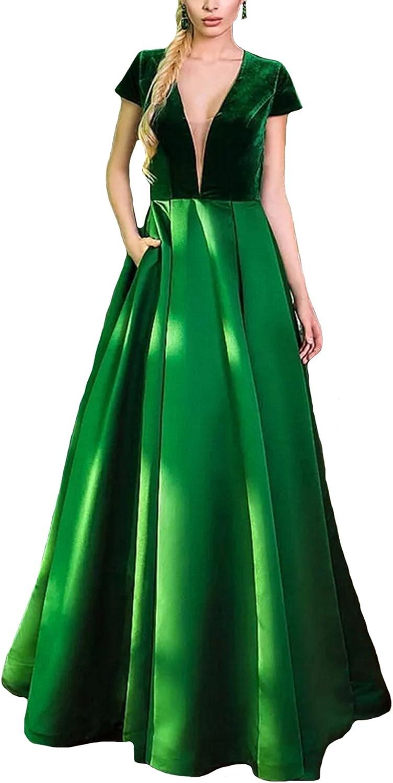 Dearta Women's ALine Deep VNeck Velvet Short Sleeves Hollow Back Prom Dresses