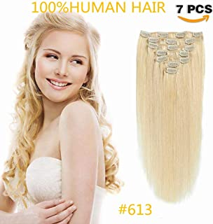 IVCoco Clip in Hair Extensions 100% Remy Human Hair for Women Silky Straight Human Hair Clip in Extensions Clips in Human Hair Extensions for White Women Blonde Real Hair Extensions 7pcs 70g(20