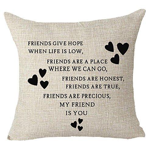 FELENIW Best Friends to The Friends Love Heart Throw Pillow Cover Cushion Case Cotton Linen Material Decorative 18